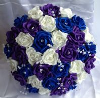 WEDDING FLOWERS ARTIFICIAL PURPLE/IVORY/ROYAL BLUE FOAM ROSE BRIDE BOUQUET